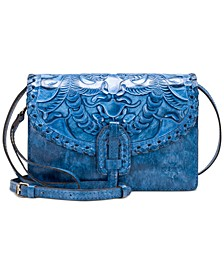Burnished Tooled Leather Lanza Crossbody