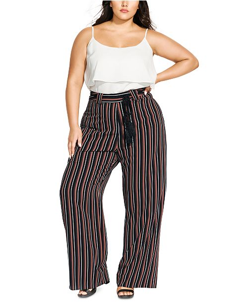 City Chic Trendy Plus Size Striped Belted Pants