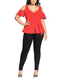 Trendy Plus Size Cold-Shoulder Peplum Top