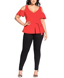 City Chic Trendy Plus Size Cold-Shoulder Peplum Top