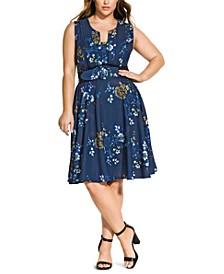 Trendy Plus Size Floral-Print Fit & Flare Dress