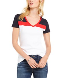 Tommy Hilfiger Cotton Colorblocked Top, Created for Macy's