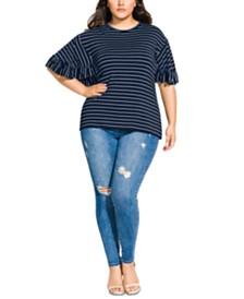 City Chic Trendy Plus Size Ruffle-Sleeve Top