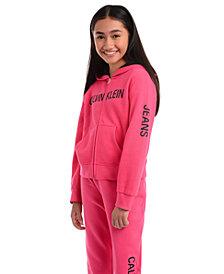 Calvin Klein Big Girls Logo Zip-Up Hoodie