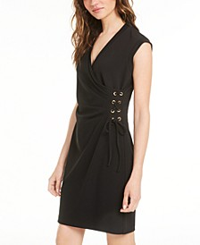 Lace-Up Grommet Sheath Dress