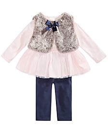 Baby Girls 3-Pc. Faux-Fur Vest, Tulle-Hem Tunic & Leggings Set, Created For Macy's
