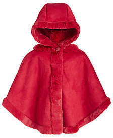 First Impressions Baby Girls Hooded Faux-Shearling Cape, Created For Macy's