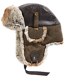 Men's Canvas Faux-Leather Trapper Hat