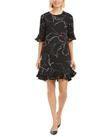 Alfani Pleated Ruffle-Trim Printed Dress, Created for Macy's
