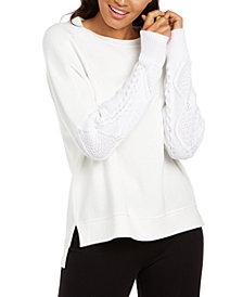 Elie Tahari Chantae Mixed-Media High-Low Sweater