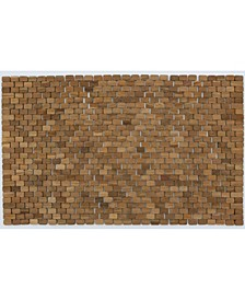 "Oversized Teak Indoor and outdoor Floor and Bath Mat, 34"" x 21"""
