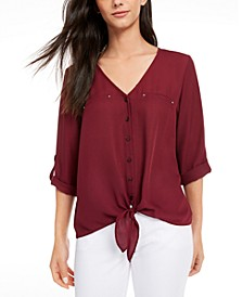 Juniors' Roll-Tab Tie-Front Blouse