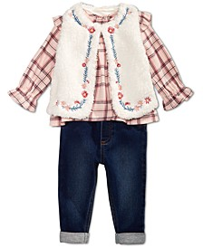 Baby Girls, Fur Vest, Plaid Shirt & Bow Jeggings, Created for Macy's