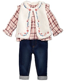First Impressions Baby Girls, Fur Vest, Plaid Shirt & Bow Jeggings, Created for Macy's