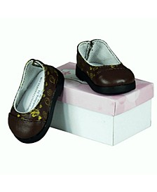 "18"" Doll Clothes Accessory, Brown Designer Flat Slip on Shoes and Authentic Shoe Box"