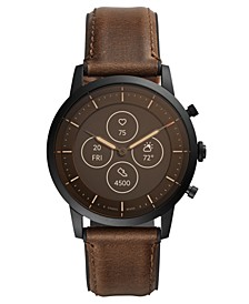Tech Collider Brown Leather Strap Hybrid Smart Watch 42mm