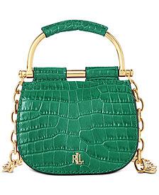 Lauren Ralph Lauren Mason Croc-Embossed Leather Convertible Satchel