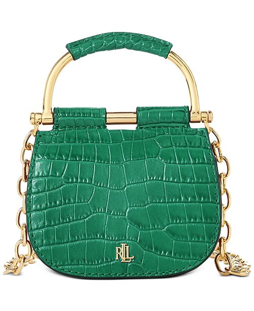 Lauren Ralph Lauren Mason Croc-Embossed Leather Convertible Satchel