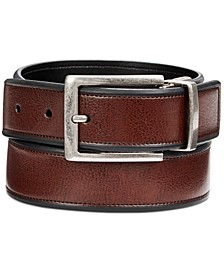 Men's Beveled-Edge Reversible Leather Belt