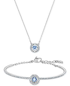 "Silver-Tone Cubic Zirconia Pendant Necklace & Bangle Bracelet Set, 14-7/8"" + 2-1/4"" extender"