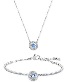 "Swarovski Silver-Tone Cubic Zirconia Pendant Necklace & Bangle Bracelet Set, 14-7/8"" + 2-1/4"" extender"