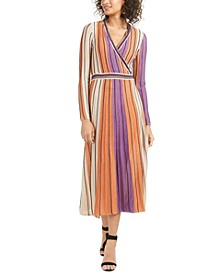 Jayden Striped Metallic-Knit Wrap Dress