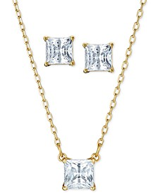 Gold-Tone 2-Pc. Set Cubic Zirconia Square Solitaire Pendant Necklace & Matching Stud Earrings