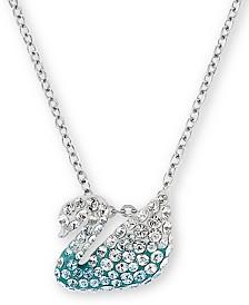 "Swarovski Silver-Tone Pavé Swan Pendant Necklace, 14"" + 7/8"" extender"