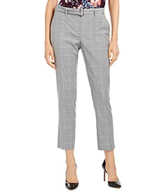 Petite Windowpane Ankle Pants