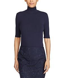 Lauren Ralph Lauren Monogrammed Turtleneck Stretch Jersey Top