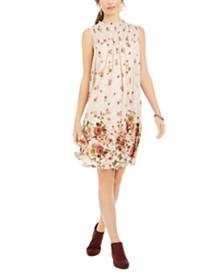 Style & Co Floral-Print Smocked Dress, Created for Macy's
