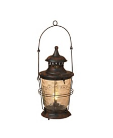 """Sterling 18.75"""" Tall Battery-Operated Rusted Metal Lantern with Sturdy Glass Body"""