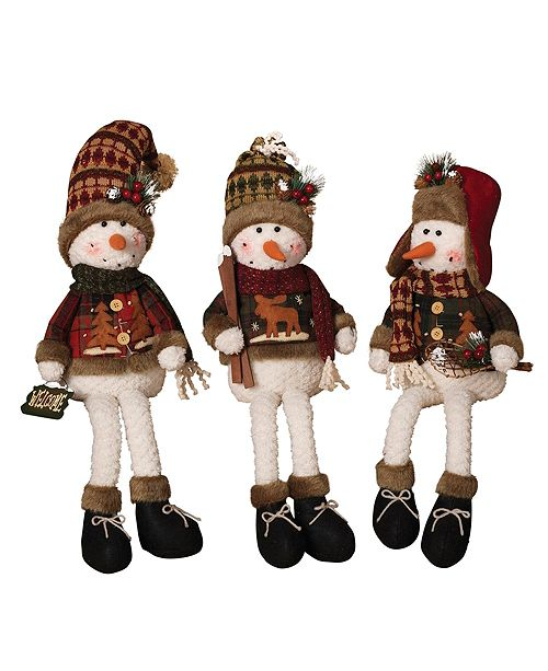 Sterling Plush Snowmen Shelf Sitters - Set of 3