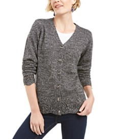 Karen Scott Scalloped-Hem Button Cardigan, Created for Macy's