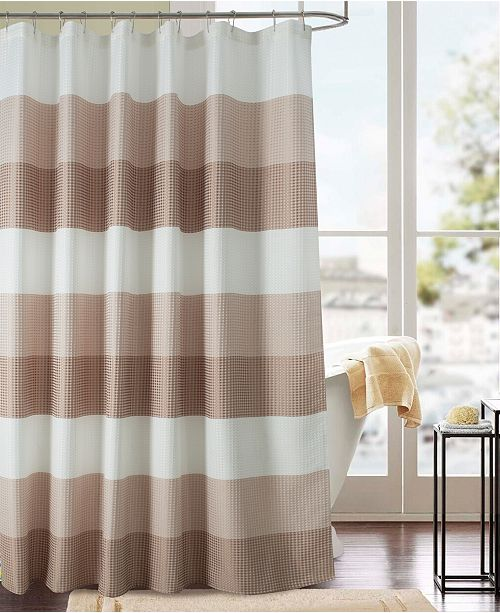 RT Designers Collection Glamor Waffle Jacquard Shower Curtain