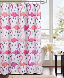 Flamingo Printed Canvas 13-Pc. Shower Curtain Set