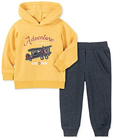 Little Boys 2-Pc. Adventure Plane Appliqué Hoodie & Fleece Sweatpants Set
