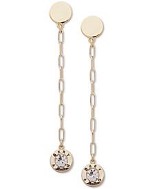 Gold-Tone Crystal & Logo Linear Drop Earrings