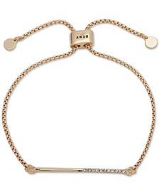 Gold-Tone Half-Pavé Bar Slider Bracelet