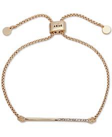 DKNY Gold-Tone Half-Pavé Bar Slider Bracelet