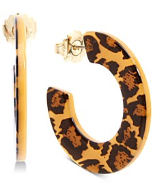 Medium Gold-Tone Animal-Print Acetate Hoop Earrings 1-1/5""