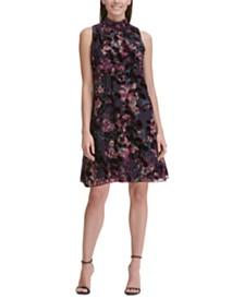 Tommy Hilfiger Mock-Neck Floral Chiffon Dress