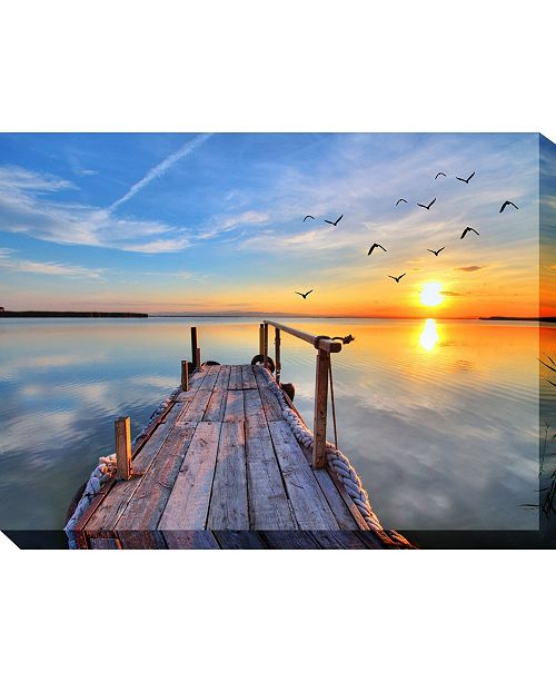 """West of the Wind Fishing Dock Outdoor Wall Art, 40"""" x 30"""""""