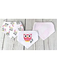 3Stories Infant 3 Pack Bandana Bibs, Owls