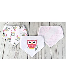 Jesse Lulu Infant 3 Pack Bandana Bibs, Owls