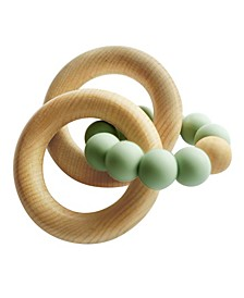 3Stories Tiny Teethers Infant Silicone And Beech Wood Rattle And Teether