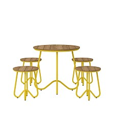 Novogratz Poolside Collection Bobbi 5-Piece Outdoor Bistro Set