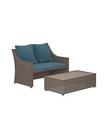Outdoor 2-Piece Patio Loveseat and Ottoman or Table Set