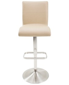 MIX Fogo Faux Fabric Adjustable Swivel Barstool