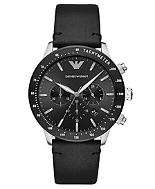 Men's Chronograph Black Leather Strap Watch 43mm